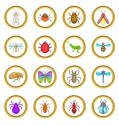 Insects set cartoon style vector