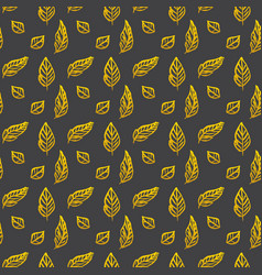 Leaf brush gold seamless pattern vector