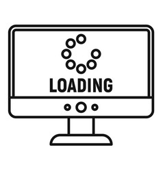 Loading computer update icon outline style vector