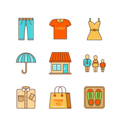 minimal lineart clothes shopping iconset jeans vector image