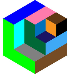 multi colored isometric cube vector image