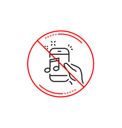 Music in phone line icon mobile radio sign vector
