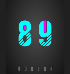 number font modern design set numbers 8 9 vector image
