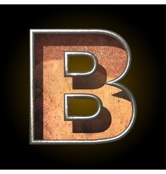 Old metal letter b vector