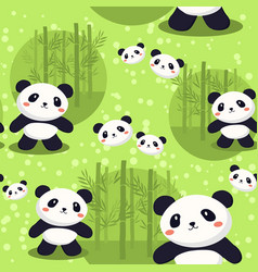 Panda bear seamless pattern green bamboo vector