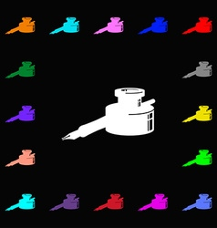 pen and ink icon sign Lots of colorful symbols for vector image