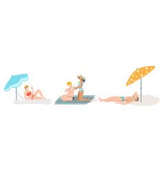 people on beach sunbathing set summer vacation vector image