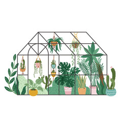 Planting greenhouse glass orangery botanical vector