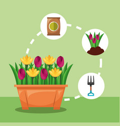 Potted flowers fork flowers and fertilizer vector