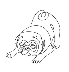 pug dogone line drawing vector image