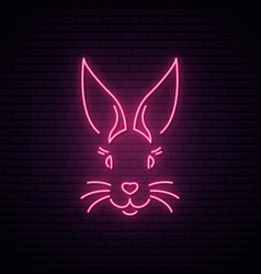 Rabbit neon sign pink easter bunny muzzle vector
