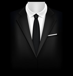 Realistic detailed 3d black suit and tuxedo vector
