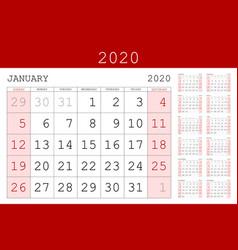 red calendar 2020 basic grid simple design vector image
