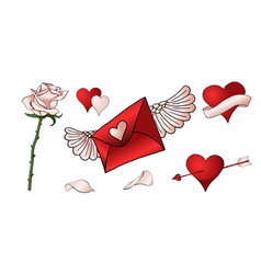 red roses hearts and other elements hand drawn vector image