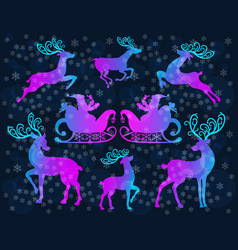 reindeer christmas icon set vector image