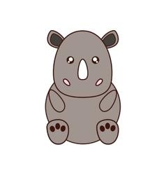 Rhino kawaii cute animal icon vector