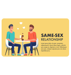 Same sex relationship equality flat cartoon banner vector
