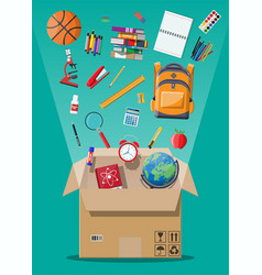 school items and cardboard box vector image
