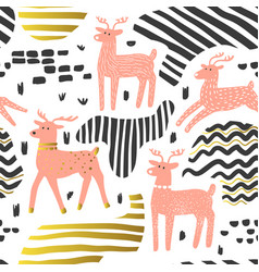 Seamless pattern cute deer childish background vector