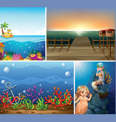 Set sea scene vector