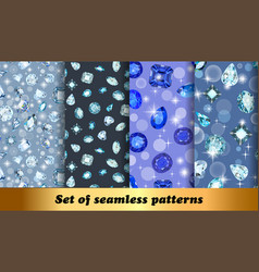 set seamless patterns with jewelry gems vector image