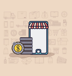 smartphone with parasol and ecommerce icons vector image