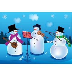 Snowmen musicians vector