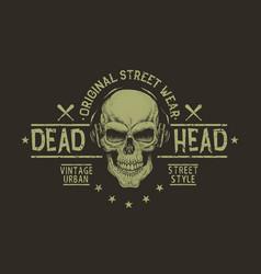 street style label of skullprints design vector image