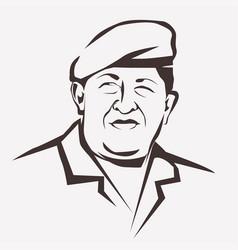stylized portrait hugo chavez national leader vector image