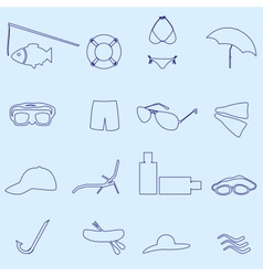 summer and beach blue outline icons set eps10 vector image