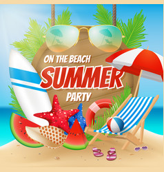 Summer party on the beach poster design vector