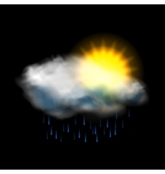 Sun cloud and rain weather icon vector