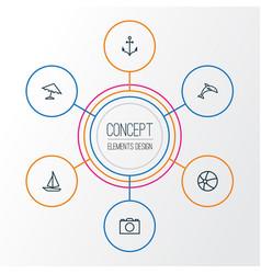 sun outline icons set collection of ship animal vector image