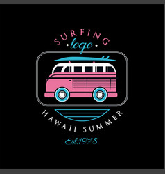 surfing logo hawaii summer est 1978 design vector image
