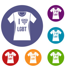 T-shirt i love lgbt icons set vector