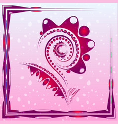 tender background with pink abstract flower on vector image