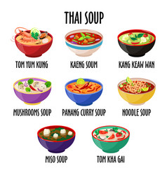 Thai soup icon set different dishes in colorful vector