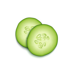 Two realistic 3d slice juicy cucumbers icon vector