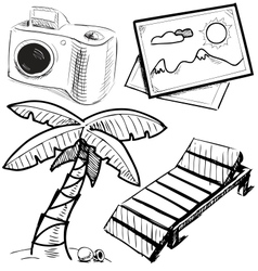 Vacation objects collection vector image