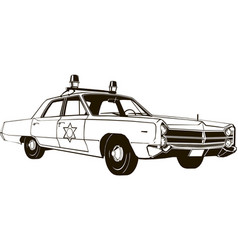vintage police car drawing graphic vector image