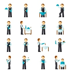 Waiter Man Icon Flat vector