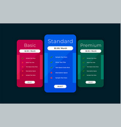 Website pricing table comparison chart template vector