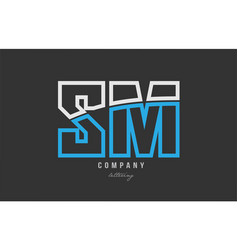 White blue alphabet letter sm s m logo icon design vector