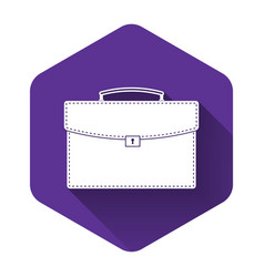 white briefcase icon isolated with long shadow vector image