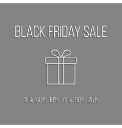 white lettering black friday sale and outline gift vector image