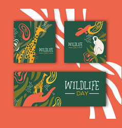 wildlife day safari concepts set with wild animals vector image