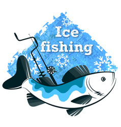winter fishing fish rod and drill vector image