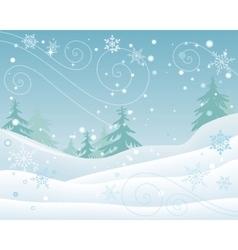 Winter Forest Landscape Flat Design vector