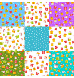 Wrapped present boxes set on colourful backgrounds vector