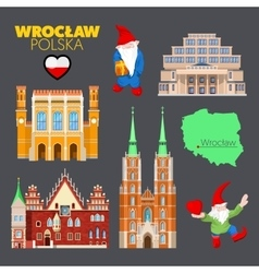 Wroclaw Poland Travel Doodle with Architecture vector